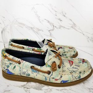 Sperry Top-Sider Map Print Boat Shoes Canvas
